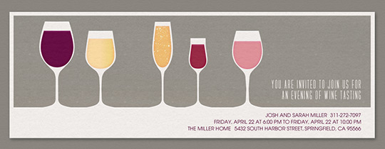 5 Wine Glasses Gray Invitation