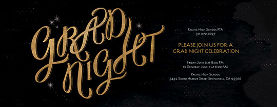 All Night Grad Black and Gold Invitation