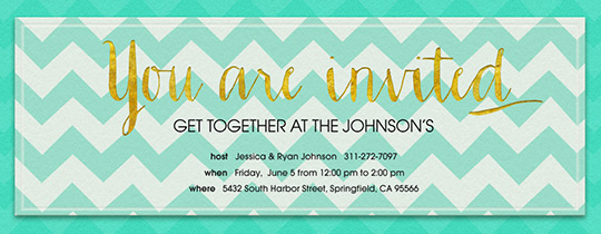 aqua, chevron, gold, get together