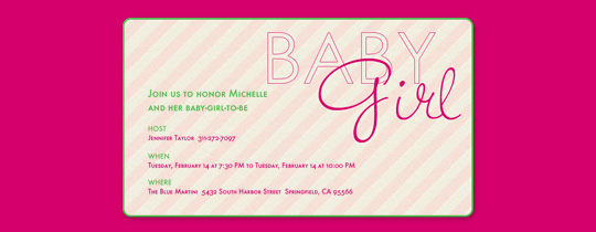 Baby Girl Stripes Invitation