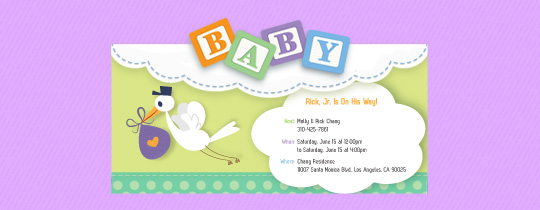 Baby Shower Stork Invitation