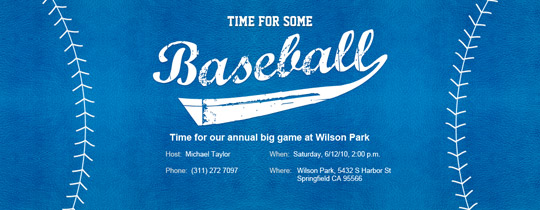 Baseball Blue Invitation
