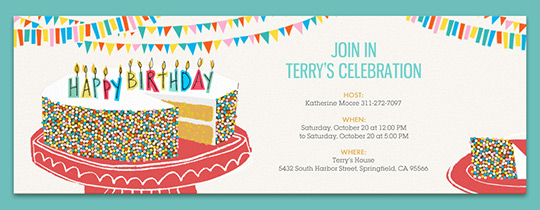 Birthday Milestones free online invitations Birthday Cake Sprinkles Invitation