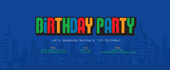 arcade, bday, birthday, birthday party, blue, city, skyline, video game