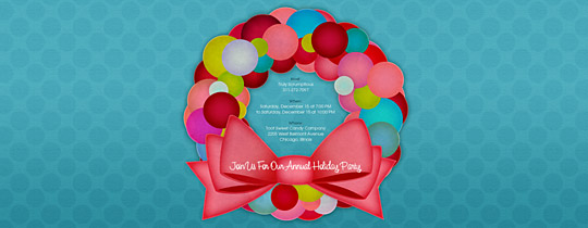 Candy Dot Wreath Invitation