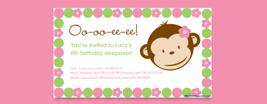 monkey, flower, sleepover, mod, pink, circles, first birthday, 1st birthday, monkeys, slumber party, sleep over, pajamas, pajama party,