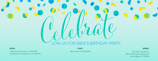 celebration, green, confetti, dots, blue, circles, celebrate, birthday, boys birthday,