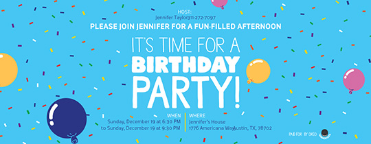 It's Time For A Birthday Party Invitation