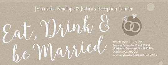 Eat, Drink, Be Married Invitation