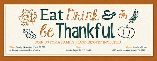 Eat Drink Be Thankful Invitation