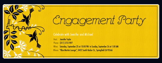 bird, birds, engage, engaged, engagement, engagement party, wedding, yellow
