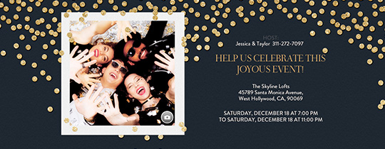 Festive Gold Confetti Black Invitation