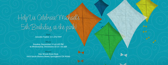 Five Kites Invitation