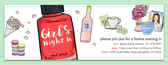 girls, girls night, ladies night, manicures, popcorn, movie night, macaroons, wine, nail polish, tea,