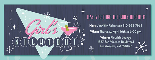 Girls' Night Retro Invitation