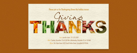 Giving Thanks Invitation