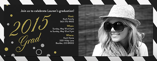 gold, stripes, graduation, uyo, photo invite, silver, grad