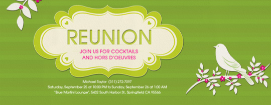 Green Reunion Invitation