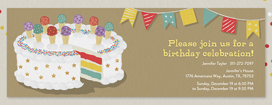 Happy Birthday Cake Invitation