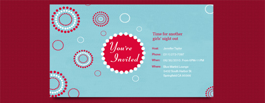 circles, colorful, contemporary, dots, general, invited, modern, red, turquoise, you're invited