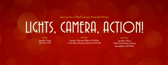 Lights, Camera, Action! Invitation