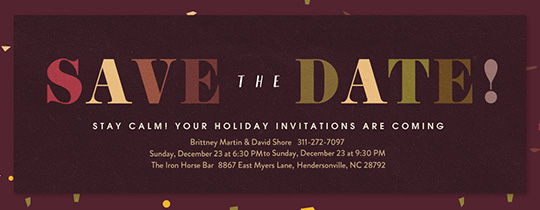 Merriest Berry Confetti Save the Date Invitation
