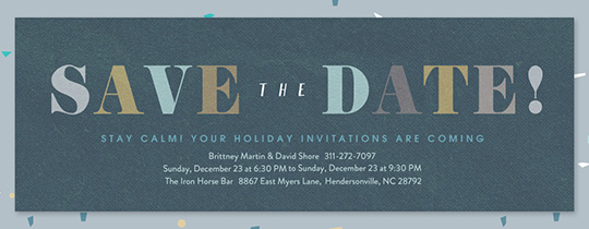 Merriest Blue Confetti Save the Date Invitation