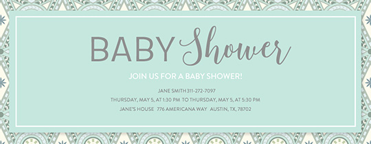 Mosaic Baby Shower Green Invitation