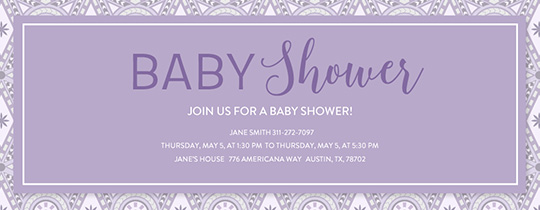 Mosaic Baby Shower Purple Invitation