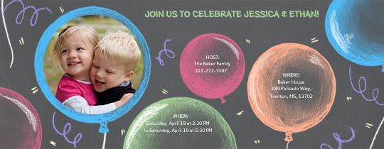 New Chalk Balloons Invitation