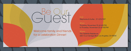 be our guest, fans, gray, orange, diwali, friendsgiving,