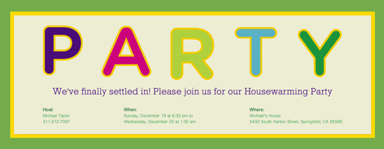 Party Sign Invitation