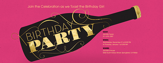 Pink Champagne Bday Invitation