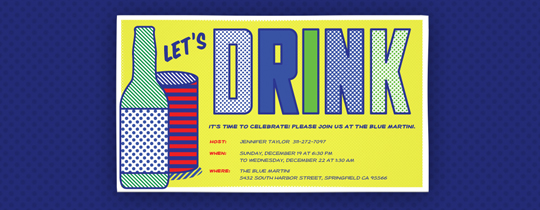Pop Art Drinks Invitation