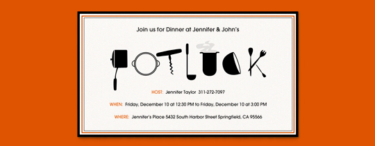 Potluck Orange Invitation