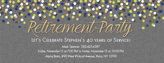 Retirement Confetti Invitation