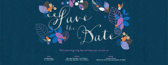 save the date, flower, flowers, leaf, leaves, garden, blue, purple,