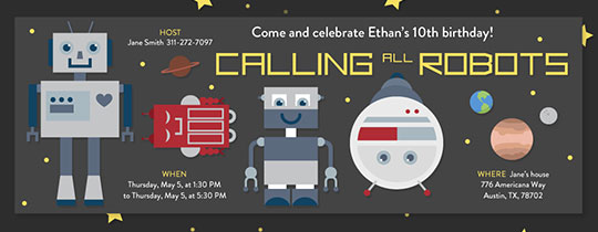 Star Calling All Robots Invitation