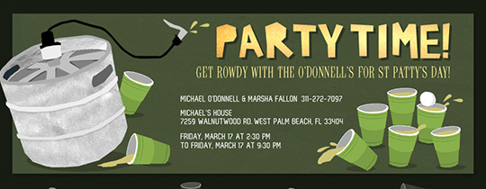 St. Patty's Keg and Pong Invitation