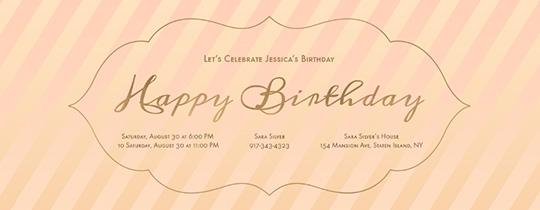 happy birthday, birthday, stripes, girl, peach, pink, 16, sweet 16, sweet sixteen, sixteen, girls birthday, girls,
