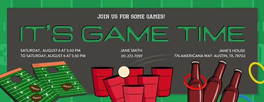 Games and Fun Invitation