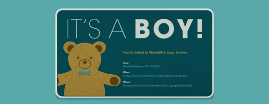 Teddy Boy Invitation