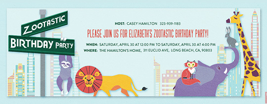 Zootastic Birthday Invitation