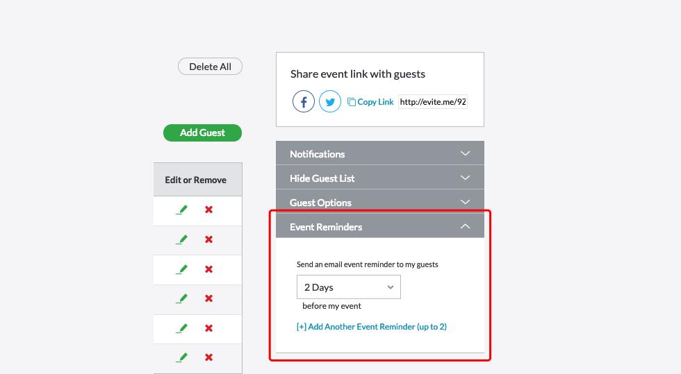 Customize Event Reminders Evite Com