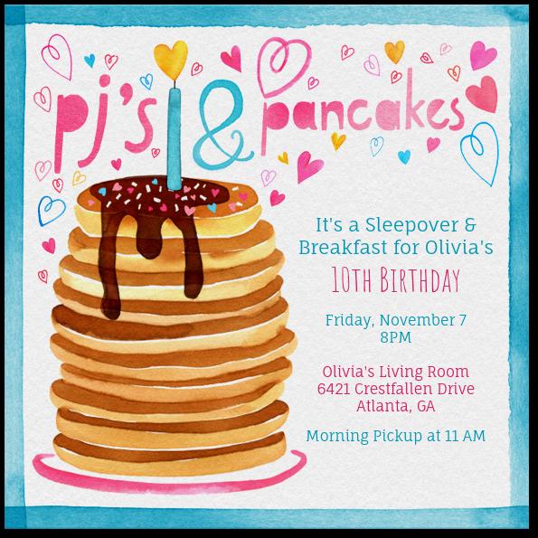 Pjs and pancakes invitation evite filmwisefo