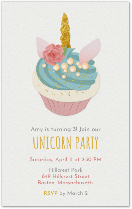 unicorn cupcake invitation evite
