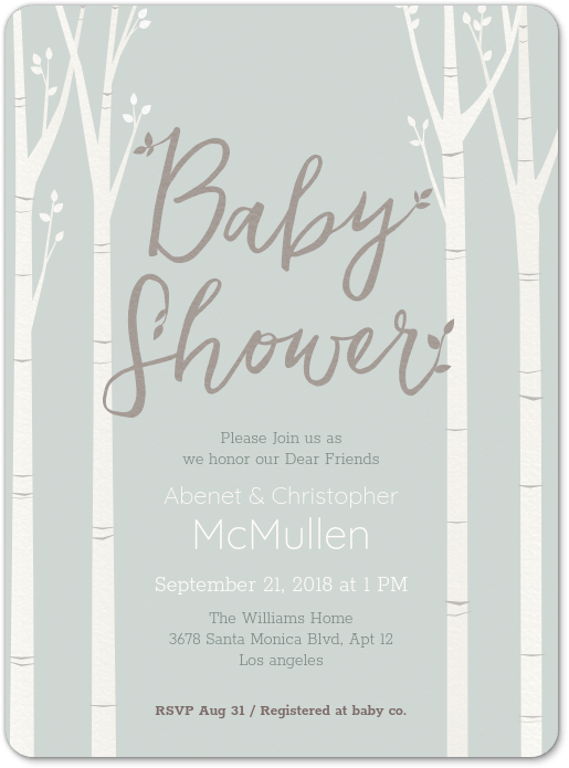 Birch Tree Baby Shower Invitation Evite