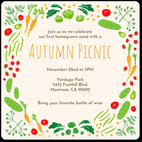 homegrown summer picnic invitation evite