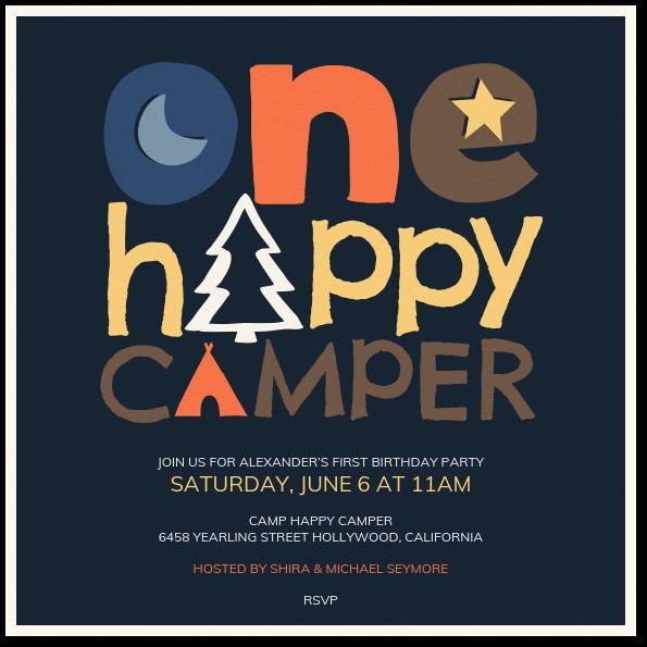 One Happy Camper Invitation