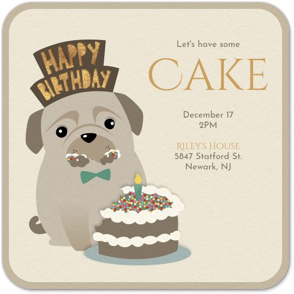 Cool Dog Eating Cake Invitation Evite Birthday Cards Printable Trancafe Filternl